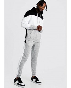 Color Block Hooded Tracksuit with Spliced Drawstring Best Manufacturer