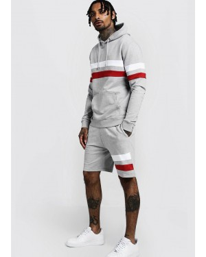 Contrast Panel Hooded Short Tracksuit with White & Red Striped Custom Services
