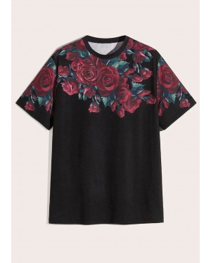 Floral Design Print Short Sleeves TS 113 19