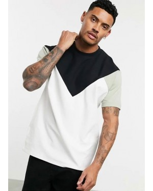 Front & Back Black V Panel Wholesale Contrast Sleeves T Shirt Brand Clothing Services