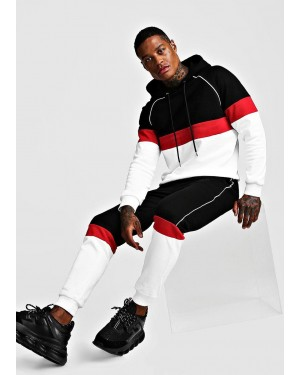 New Men Contrast Color Block Hooded Reflective Piping Tracksuit