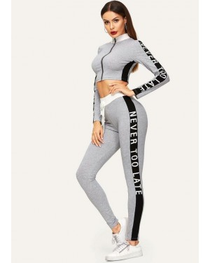 Side White Letter Black Striped Skinny Tight Girls Zipper Active Suit Suppliers