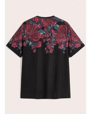 Floral Design Print Short Sleeves TS 113 19