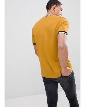 New-Look-T-Shirt-With-Tipping-Detail-In-Mustard-with-White-and-Black-Striped-Rib-Custom-Servic-(3)